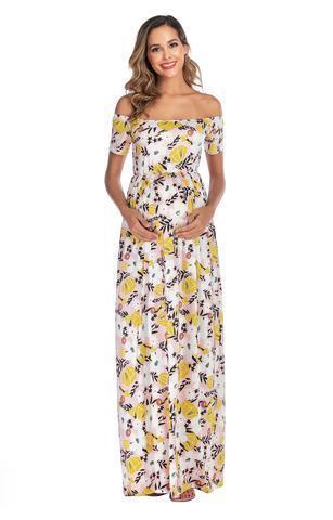 Off Shoulder Flower Print Casual Dress