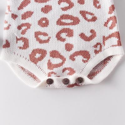 Spring and Autumn New Girl Baby Knitwear Leopard Climbing Clothing