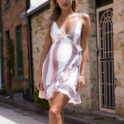New Striped Print Sling V-neck Edgy Maternity Dress