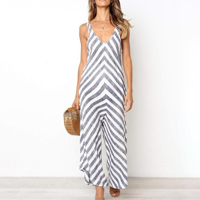 Maternity V-Neck Stripe Loose Jumpsuit