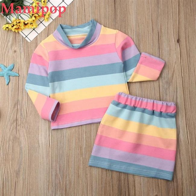 2PCS Toddler Kids Baby Girl Clothes SetsT-shirt Tops+Skirt Outfits