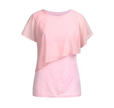 Maternity Nursing Wrap Double Layer Short Sleeve Pregancy Blouse T Shirt