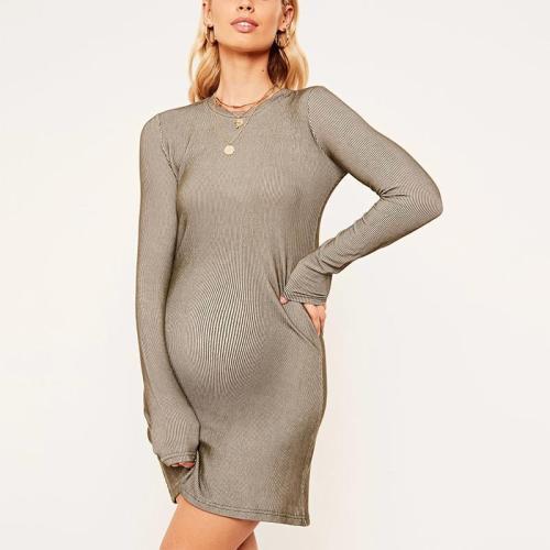 Maternity Fashion Round Neck Striped Long Sleeve Mini Dress