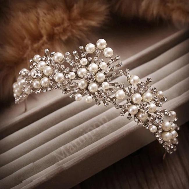 Pearl Crown Handmade Pearl Beads Hair Photography Tiaras