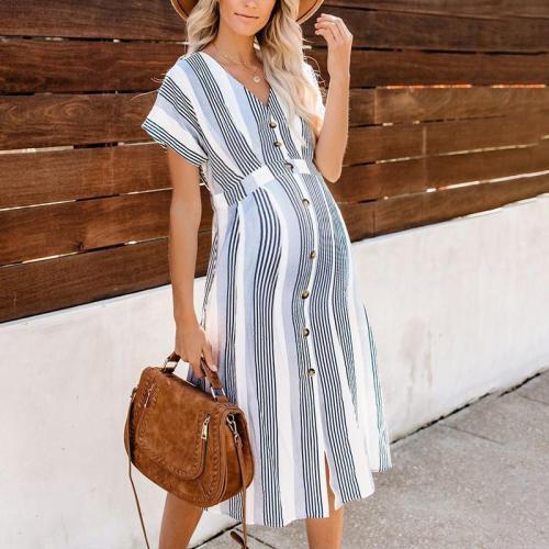 Maternity V-Neck Stripe Casual Long Dress