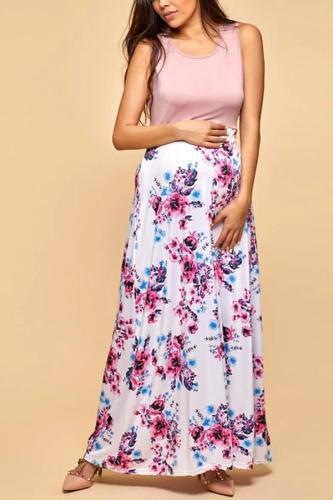 Maternity Mom Girl Botanical Prints Matching Dress
