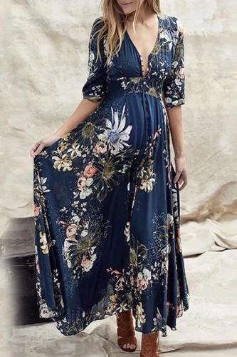 Maternity V Neck  Printed Color Sleeve Dresses