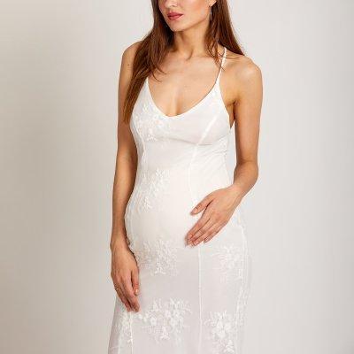 Maternity V Neck White Wedding Fishtail Evening Dress