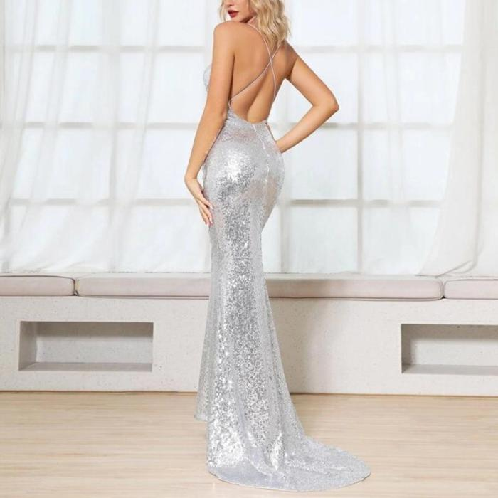 Maternity Sexy Sling Sequin Dress