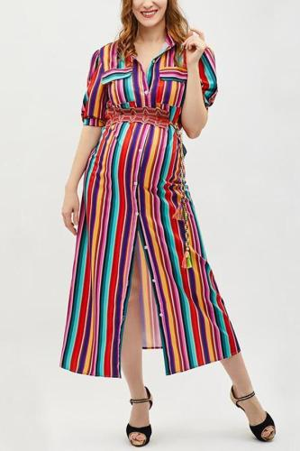 Maternity Button Down Collar  Stripes  Roll Up Sleeve  Half Sleeve Maxi Dresses