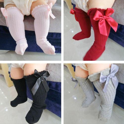 Fashion baby socks New Kids Toddlers Girls Big Bow Knee High Long Soft Cotton Lace Baby Socks