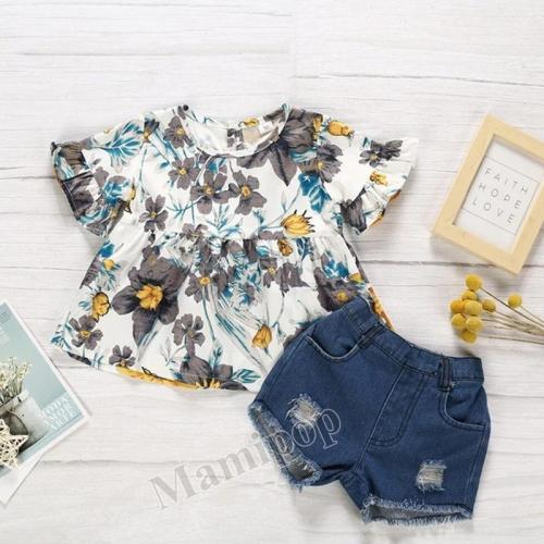Baby Girl SummerT-shirt Tops+Shorts Pants Children Kids Flower Sunsuit