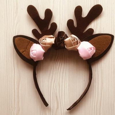 Santa Reindeer Costume New Year Tutu Mesh Dresses up with Headband