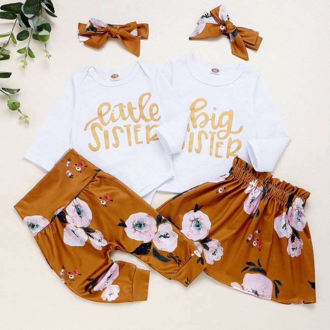special for sisters' printed Hardwear + trousers + three piece knot set