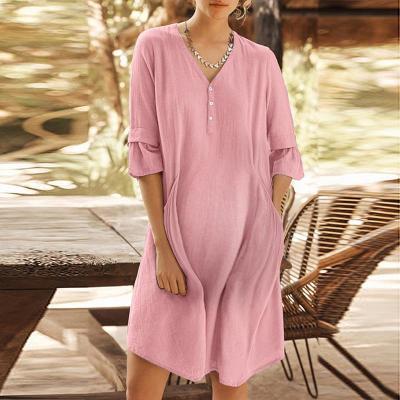 Maternity V Neck Pure Color Flounce Patchwork Dress