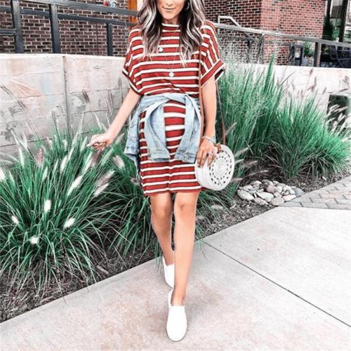 Maternity Short-Sleeved Striped T-Shirt Dress