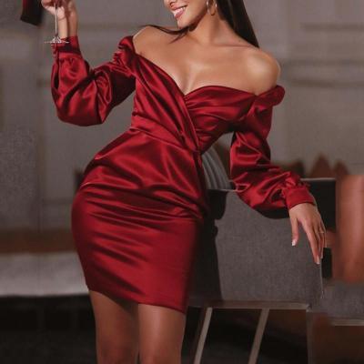 Maternity Elegant Deep V-neck Long Sleeve Bag Butt Solid Color Dress