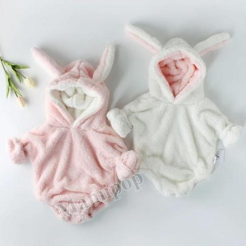 Winter Infant and Toddler Bodysuit Boys and Girls' Plush Rabbit Ears Long Sleeve Hardcover Creeper