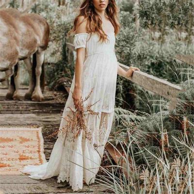 Sweet Word Collar Stitching Lace Maternity Dress