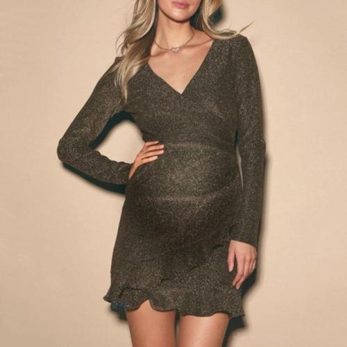 Maternity Fashion V-neck Solid Color Ruffled Long Sleeve Dress