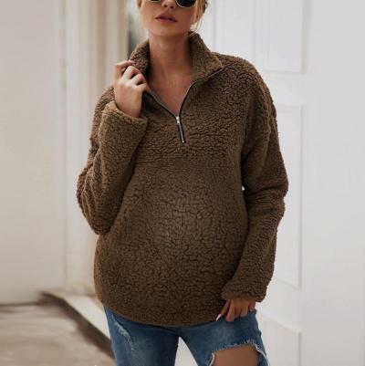 Maternity Daily Zipper Pure Color Sweater