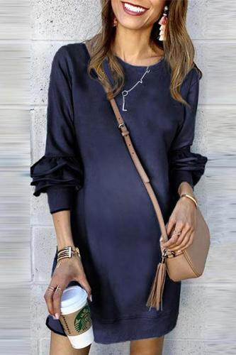 Maternity Commuting Round Neck Long Sleeve Pure Colour Dress