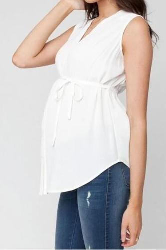 V-neck Adjustable waist maternity clothes for office work summer pregnant tops