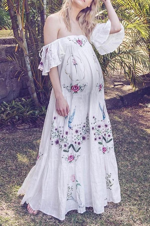 Fashion embroidered maternity collar dress