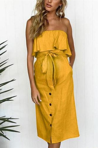 Maternity Casual Off Shoulder Frenulum Dress
