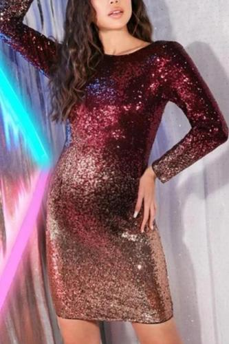 Maternity Modern Fashion Gradient Sequin Design Long Sleeve Dress