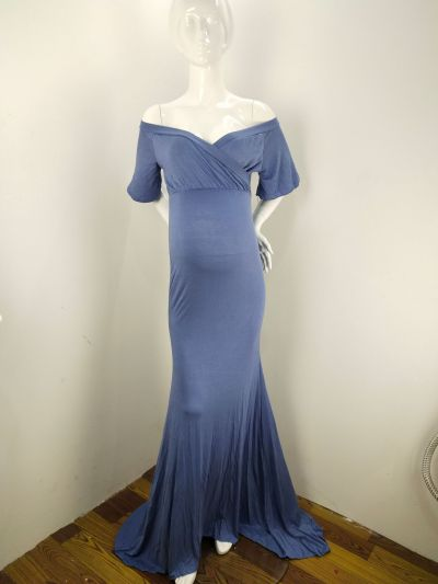 Women's Cotton Pregnant Women's Ruffle Collar Tailoring Dress Photography Dress