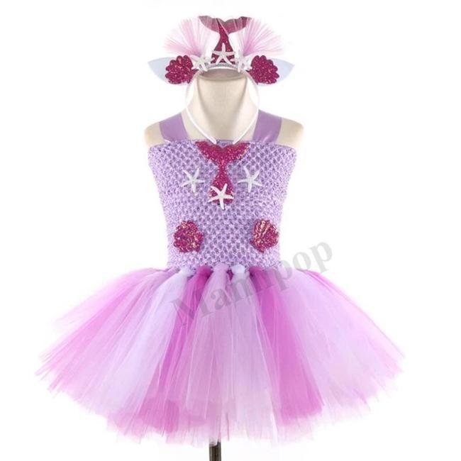 Girls Rapunzel Tutu Dress With Headband Set for Kids Birthday Theme Party Dress