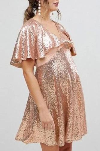 Maternity Sexy V-neck Sequin Dress