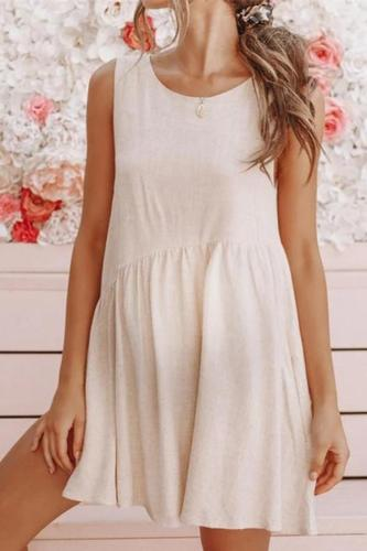Maternity Solid Color Backless Sleeveless Dress