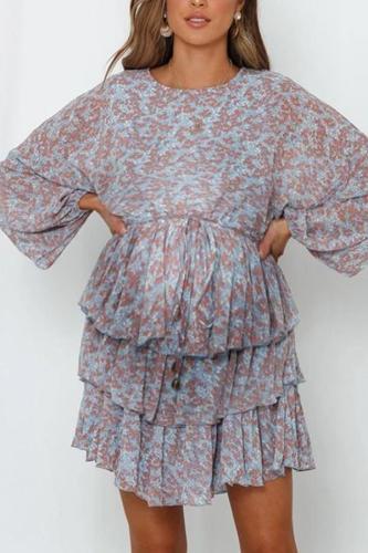 Maternity Sweet Round Neck Bishop SleevePrinted Color Drawstring Dress