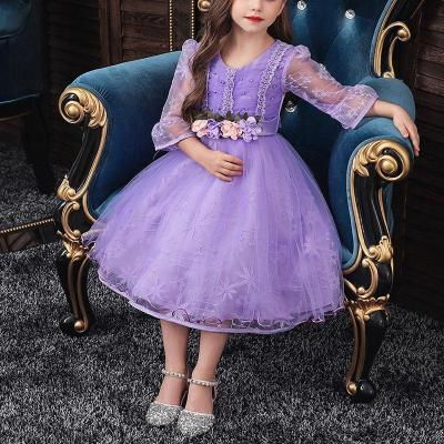 Mid-Sleeved Lace Princess Flower Girl Evening Dress