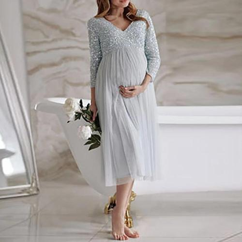 Maternity fashion v-neck mesh splicing sequin dress