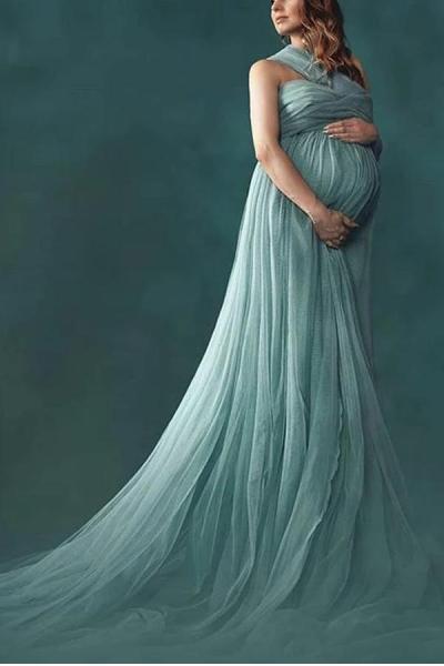 Maternity One-Shoulder Sleeveless Full Length Gown