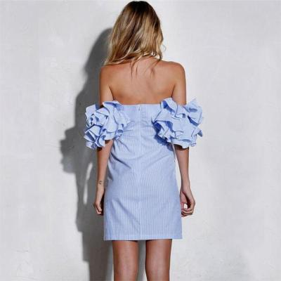 Maternity Sexy Off Shoulder Layered Ruffled Sleeve Dress