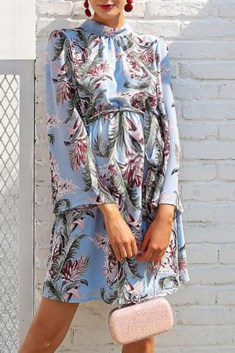 Maternity Stand Collar Long Sleeve Printed Above Dress