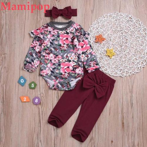 Newborn Set Infant Baby Girls Fashion Floral Romper