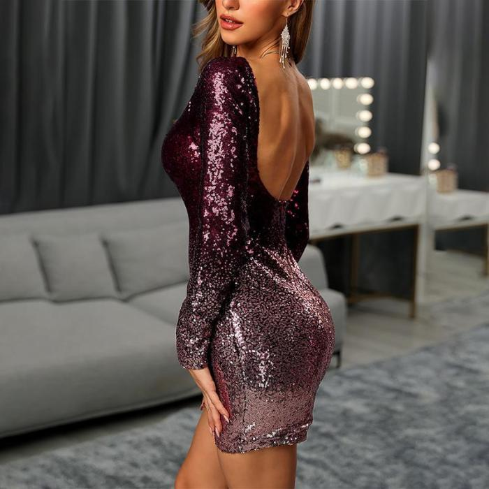 Maternity Sexy Sequined Backless Mini Evening Gown
