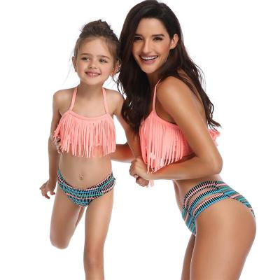 2020 New Parent-Child Swimsuit Fringe Split Family Swimsuit