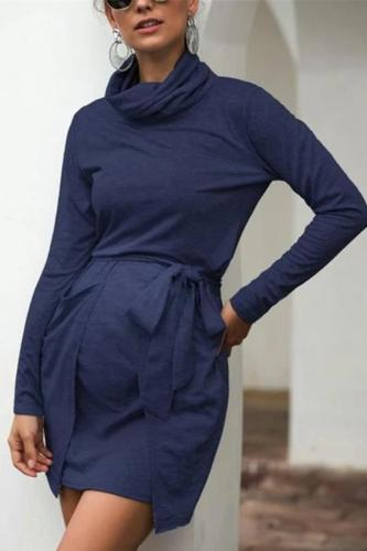 Maternity Solid Color Pile Collar Long Sleeve Casual Dress