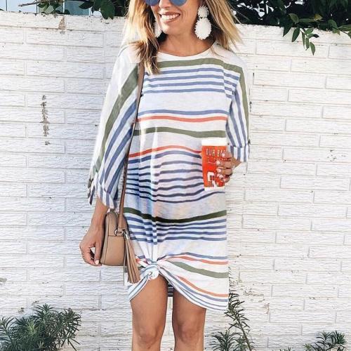 Maternity Round Neck Striped Stitching Long Sleeve Dress