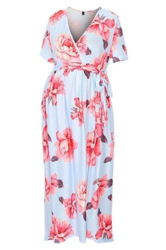 Maternity Floral Print Asymmetrical Wrap Tea-Length Dress