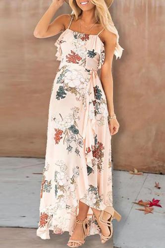 Sling Dress Sexy Halter Retro   Flower Dress Big Swing Skirt