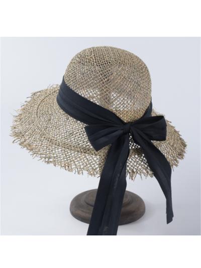 Stylish Openwork Bow Straw Hat