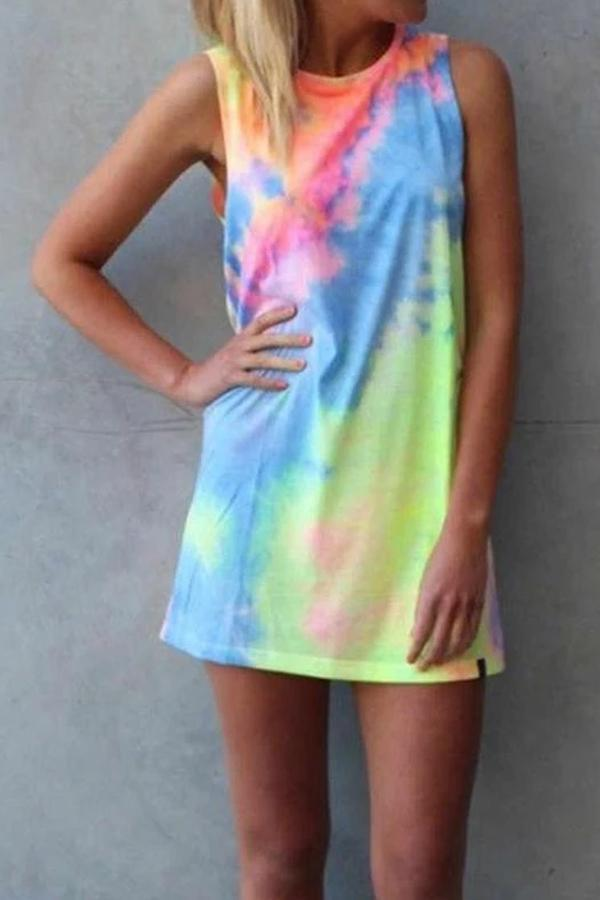 Maternity Tie Dye Print Casual Dress