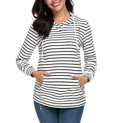 Striped hooded Nursing Dress Maternity Sweater Coat